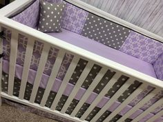 Baby Crib Bedding Cot Set Crib Set - Purple Lavender Chevron And Gray Geometric…