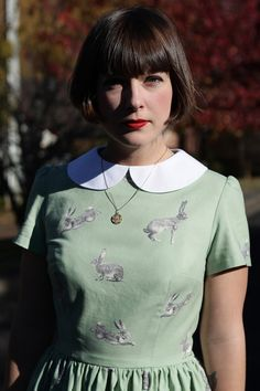 The Cottontail rabbit print dress with Peter Pan collar