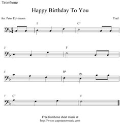trombone sheet music  happy birthday | Sheet Music Scores: Happy Birthday To You, free easy trombone sheet ...