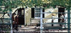 "John Buxton painting -  Portico Stroll 9"" x 19"" oil"