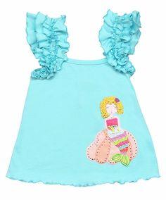 Lemon Loves Lime Girls Blue Tint Mermaid Treasure Tank Shirt