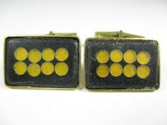 Stegemaille Manschettenknöpfe Bunge Vintage 50er enamel cufflinks 15. N4
