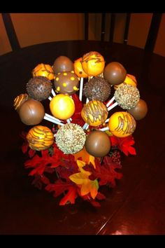 cake pop bouquet make into a center piece and have it as favors.