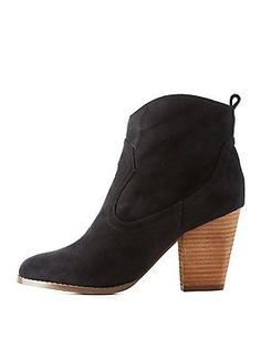Chunky Heel Western Ankle Booties: Charlotte Russe