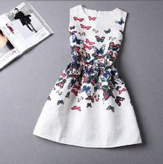 Beautiful Butterfly Sleeveless Printed Dress