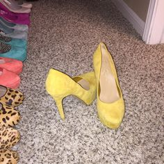 Yellow Jessica Simpson Size 9 Good condition. Normal wear. Black mark on toe. Jessica Simpson Shoes Heels
