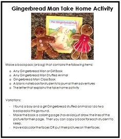 Take Home Book Freebie: Gingerbread Man (to go along with gingerbread man writing theme)