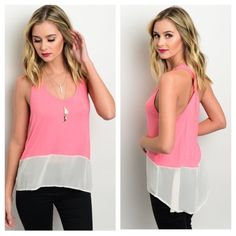 "Light Lipstick Pink Tank Light Lipstick Pink Tank. Features a scooped neckline, relaxed fit, and a contrast colored chiffon hem. Brand new without tags.  95% Rayon 5% Spandex  Sizes Available: Small and Medium   ✨Use the ""Buy Now"" or ""Add to Bundle"" Button to select your size for Purchasing✨ Boutique Tops Tank Tops"