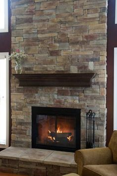 mountain stack stone veneer 002 north star stone - Stone Cladding Fireplace