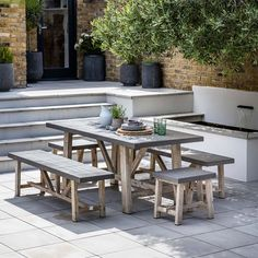 furniture : Garden Trading St Mawes Round Drinksplanter Table In Reclaimed Outstanding Cement Patio Outdoor Dining Tables Picnic Australia Sydney Diy Cement Patio Table Cement Patio Furniture Sets' Diy Cement Patio Table' Cement Patio Set or furnitures Small Outdoor Patios, Small Patio, Outdoor Areas, Outdoor Dining, Outdoor Decor, Indoor Outdoor, Outdoor Projects, Outdoor Lighting, Table And Bench Set