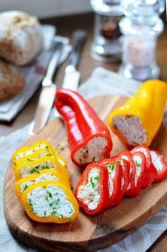 Tonhalas túrókrémmel töltött paprika recept