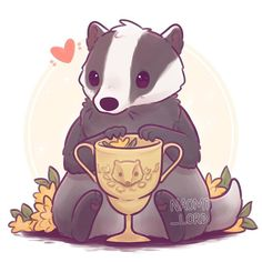 Harry Potter, A Badger with Hufflepuff's cup - Naomi Lord Harry Potter Tumblr, Fanart Harry Potter, Harry Potter Kawaii, Arte Do Harry Potter, Cute Harry Potter, Harry Potter Drawings, Harry Potter Houses, Harry Potter Wallpaper, Harry Potter Universal