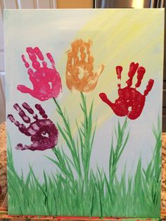 This was a simple project I did with my 4 year old as a present for a preschool teacher. Paint a light blue background and add a splash of yellow for sunshine. Have your child pick our their colors for the flowers and do the impressions. Then, finish up the grass with light strokes. Finally, have the child sign the bottom. I find Sharpies work great for this. Using a real canvas is great and makes it more formal. Check out my children's book Ella Mae the Courageous Cheerleader at…