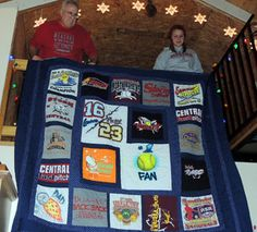 Our T-Shirt quilts photo gallery offers lots of inspiration to help you design a quilt of your very own. Includes a link to T-shirt quilt instructions.: Ed's T Shirt Quilt