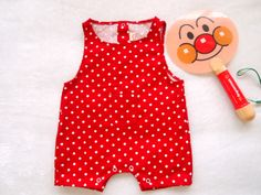 overall #polkadot printed #japanease style #red #www.botakidsshop.com
