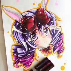@kiricheart their awesome anime/manga chibi headshot commission done with the Chameleon Pens.