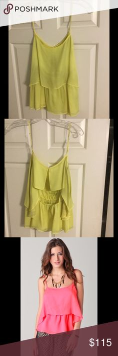 🍐Elizabeth & James Silk Brenna Top in Limelight🍐 Stand out like a rockstar in this stunner by Elizabeth & James. Awesome shade of neon green/yellow (hard to say which), looks really cool w printed shorts or bottoms or just denim! Worn once w a pair of navy silk E&J floral print shorts which looked awesome w it! Really fun for a night out, and don't have a dire need to sell it, but haven't worn it in years, so thought Id list it :) no flaws, like new. 100 percent silk chiffon. Original…