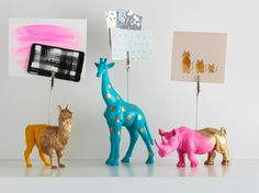 Doll up your desk decor with these glitzy and glamorous DIY projects using Martha Stewart Crafts® paints and Liquid Gilding in our latest Mad About DIY. These fun painted plastic animal figures turned mod photo holders are so cute!