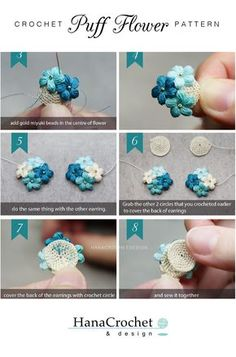 This miniature crochet puff flower is perfect for your bridesmaid gift. You can match the flower with your wedding bouquet. Get the full pattern now! Crochet Puff Flower, Crochet Flower Tutorial, Crochet Flower Patterns, Crochet Designs, Crochet Flowers, Irish Crochet, Diy Crochet, Crochet Crafts, Crochet Dolls