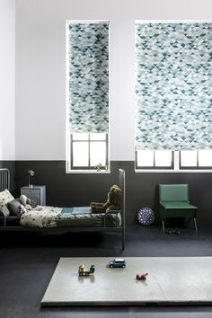 Update the kids' rooms with fun patterned roller shades! Woven Wood Shades, Bamboo Shades, Solar Shades, Motorized Shades, Budget Blinds, Custom Shades, Window Coverings, Window Treatments, Cool Patterns