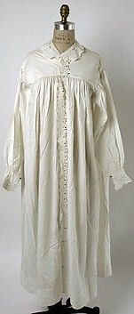 11e330102d American nightgown from made from cotton  lace detailing down middle of  gown  lace collar and lace wrist sleeves  band above breasts