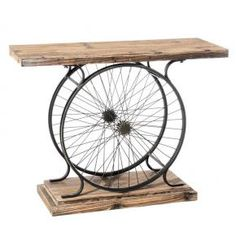 Recycle your cycle - work bench or coffee table? Metal Furniture, Repurposed Furniture, Industrial Furniture, Furniture Projects, Wood Projects, Diy Furniture, Furniture Design, Wine Barrel Furniture, Industrial Style