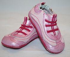 Robeez Mini Prim Pink Baby Girl Crib Shoes Infant Size 3 6-9 Mos Half K Shoez