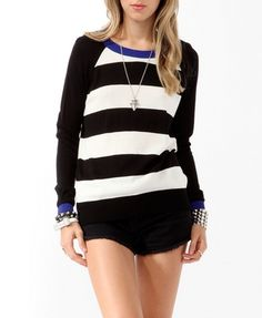 Striped Contrast Trimmed Sweater | FOREVER 21 - 2019571339
