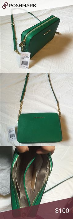 Michael Kors Crossbody Leather Purse Lovey green and gold Crossbody bag with adjustable strap. Michael Kors Bags Crossbody Bags