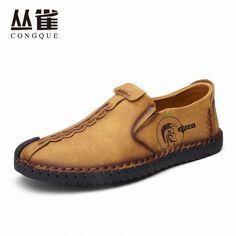 Genuine Casual Leather Shoes Men Superstar handtailor sewing Natural Rubber bottom zapato de cuero hombre sizes 38-44 EMS #Affiliate