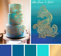 Take your color inspiration for projects any way you can find it (even on cake!) with this Sea Foam & Gold color inspiration.