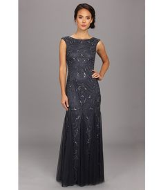 Adrianna Papell Cap Sleeve Beaded Gown Buff - Zappos.com Free Shipping BOTH Ways
