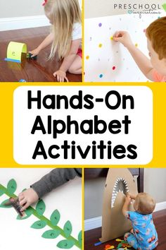 There's no better way to learn the alphabet than through play! Here are over 20 different ways to explore the alphabet through hands-on activities and games. Your preschoolers will love them! Alphabet Activities Kindergarten, Preschool Writing, Kindergarten Learning, Literacy Activities, Kids Learning, Activities For Kids, Teaching The Alphabet, Student Teaching, Kinesthetic Learning