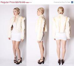 ON SALE 35% OFF - 70s White Rabbit Fur Blond Streaked Avant Garde Shoulder Short Tailored Fur Coat / White Fur Coat / Rabbit Fur / 2033