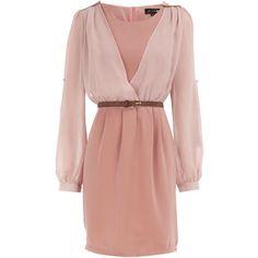 Pink v-sleeve dress (£10) ❤ liked on Polyvore featuring dresses, vestidos, haljine, платья, pink, sleeved dresses, pink v neck dress, pink dress, full sleeve dresses and dorothy perkins