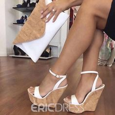 Ankle Strap Platform Line-Style Buckle White Wedge Sandals the world of shoes, offers all kinds of high quality women shoes Strappy Wedge Heels, White Wedge Sandals, White Wedges, Ankle Strap Wedges, Ankle Straps, Wedge Shoes, Wedge Sandals Outfit, Women's Shoes, Golf Shoes