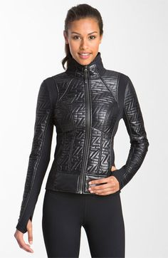 Add a leather jacket to put some extra edge in your wardrobe. This Zella 'Z Quilt' Moto Jacket is available at Sport Fashion, Fitness Fashion, Fashion Outfits, Womens Fashion, Moto Jacket, Leather Jacket, Wonder Woman Outfit, Athletic Fashion, Rain Wear