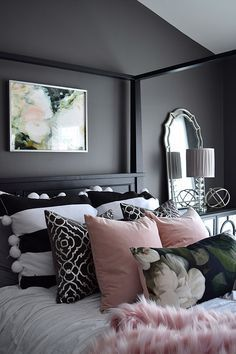 16 Awesome Black Furniture Bedroom Ideas Why do you need to choose black furniture for your bedroom? There are two reasons for this. The first is the black furniture is perfect for you when you want to create a modern and elegant bedroom. Black Bedroom Furniture, Bedroom Black, Dream Bedroom, Home Bedroom, Bedroom Ideas, Bedroom Designs, Black Bedrooms, Girl Bedrooms, Small Bedrooms