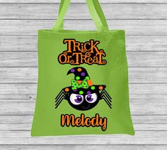 Trick or Treat Bag Halloween Bag Personalized Canvas Bag Spider Witch by CleanlyWheatGraphics on Etsy