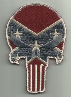PUNISHER SKULL VELCRO MORALE PATCH - REBEL FLAG