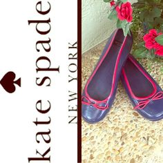Precious! Kate Spade rubber spring rain ☔️shoes  8 These are the cutest! Navy with red bow detail. Excellent used condition. The sole comes out so you can put in your own if you prefer. But they are super cushy, comfy. Pair with rolled up boyfriend jeans, a white shirt and a trench coat to look preppy and smart in the rain. ☔️ kate spade Shoes