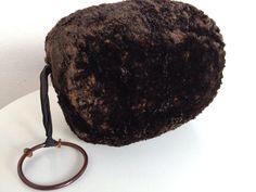 Vintage Lambskin Fur Muff Hand Warmer Bakelite Ring Brown