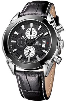Megir Schwarz Herren Sport Outdoor Militär Pilot Multifunktion Leder Quartz Analog Armbanduhr Chronograph Uhren - http://uhr.haus/findtime/megir-schwarz-brown-herren-sport-outdoor-pilot