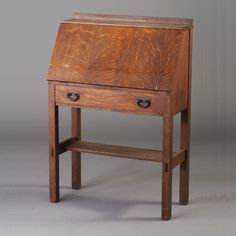 GUSTAV STICKLEY drop-front desk with gallery