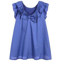 Lili Gaufrette - Girls Blue Dress with Ruffles | Childrensalon