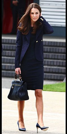 navy ensemble: a tailored blazer by Canadian brand Smythe Les Vest over a Roland Mouret silk and cotton blend sheath dress. Mulberry's Polly tote.