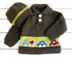 Sombrero del bebé niños suéter - ropa infantil de niño - lana de Merino 100% conjunto de suéter marrón verde y suéter con apliques de coche