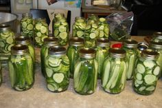 Kosher Dill Pickles canning recipe, but I added peppercorns to the jars too and did a water bath.  SALTY!  Use less salt next time.