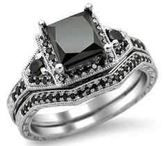 195ct Black Princess Cut Diamond Ring by FrontJewelers,