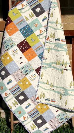 Baby Quilt Organic Camp Sur Camping Outdoors by SunnysideDesigns2